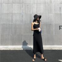 吊带连衣裙夏季2019新款韩版背心纯色针织打底短/长款小黑裙子潮 均码