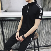 短袖t恤男立领polo衫两件套跑步半开衫运动套装健身七分裤套装潮TZ18301