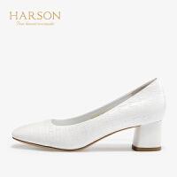 【 限时3折】哈森 2019秋季新款方头粗跟浅口单鞋女HL92410