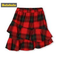 巴拉巴拉童装女童裙子春季2019新款小童宝宝格纹半身裙儿童短裙棉