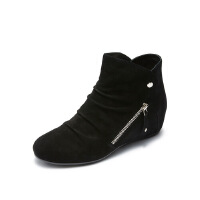 哈森旗下爱旅儿冬性感女鞋金属侧拉链坡跟内增高军靴短靴EA75701