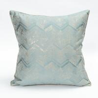蓝色白色靠枕现代简约欧式轻奢美式新中式靠垫套沙发样板房抱枕套 天青蓝 金丝小V纹