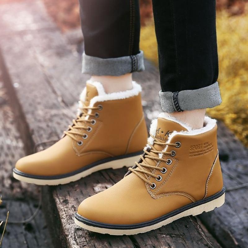 马丁靴男潮百搭复古英伦风短靴中高帮防滑防水加绒靴子男   冬季时尚新款女鞋 男鞋