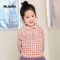 【3件3折后到手价:89.7元】马拉丁童装女小童长袖衬衫秋装新款可爱格子衬衫娃娃领小衫