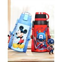 迪士尼儿童保温杯带吸管小学生不锈钢水杯幼儿园宝宝两用防摔水壶