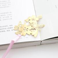 樱花镂空金属书签女创意黄铜古典中国风文创礼物学生用清新简约