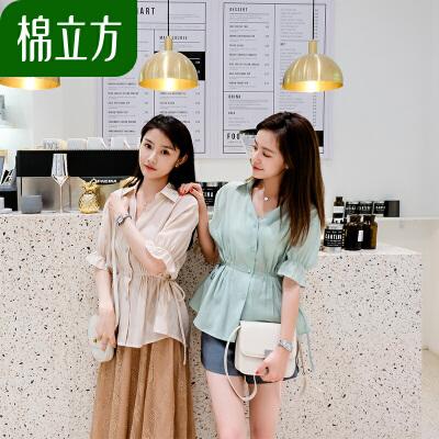 天丝棉短袖修身衬衫女夏季2019棉立方新款系带荷叶边上衣心机小众