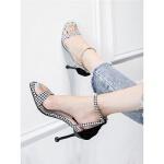一字扣凉鞋新款女韩版格子高跟鞋细跟猫跟鞋小清新工作鞋