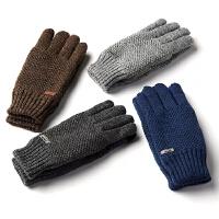 双层毛线手套男冬季保暖加厚款户外防寒骑车手套男士冬天