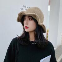 秋冬新款毛线帽女冬季日系小头围帽子百搭韩版渔夫帽针织小盆帽