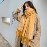 韩版小香风格子仿羊绒围巾女秋冬季学生百搭长款披肩两用加厚围脖