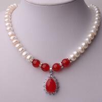 天然淡水珍珠项链 女 红绿玛瑙吊坠项链送妈妈 9-10MM中秋节礼物品