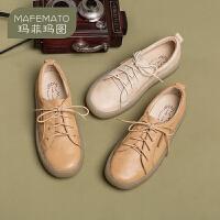 【下单只需要199元】玛菲玛图ins小皮鞋英伦复古学院风布洛克平底圆头春款单鞋女2020新款女鞋3982-6