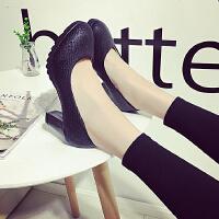 女皮鞋中跟复古高跟鞋女粗跟5-7厘米圆头工作防水台上班黑色单鞋