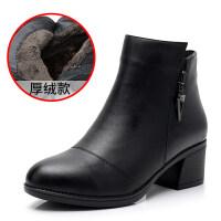 妈妈鞋棉鞋女加绒女式皮鞋中年靴子中跟粗跟女士短靴