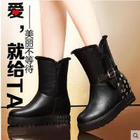 邻家天使 内增高雪地靴欧美女靴短靴高跟羊中筒靴坡跟马丁靴鞋2198-10