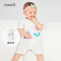 【2件4折价:67.6】安奈儿0-1岁男女童短袖连体衣夏薄款2021新款婴幼儿爬行服新生儿