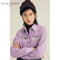 紫色灯芯绒衬衫女春季2019新款刺绣复古chic上衣港味长袖女薄外套