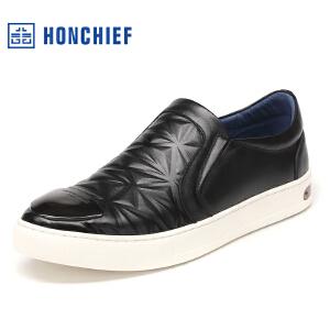 红蜻蜓旗下品牌  HONCHIEF男鞋休闲皮鞋秋冬休闲鞋子男板鞋KTA1018