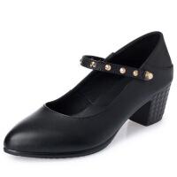 2019新款春季单鞋真皮浅口女鞋休闲鞋粗跟黑色职业工作鞋中跟女单皮鞋