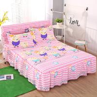 加棉床裙式床罩夹棉防滑席梦思保护床套1.5米1.8m2三件床头罩套装