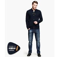 时尚男装个性针织外套    男士休闲加厚开衫半高领毛衣
