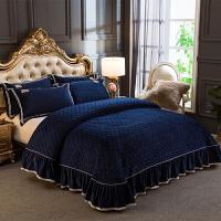 家纺欧式水晶绒夹棉床盖三件套加厚夹丝棉床套床罩加绒保暖床单Y
