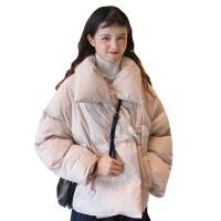 新年礼物冬季女装韩版宽松立领一粒扣面包服棉袄学生加棉加厚棉衣外套 均码