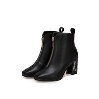 2019欧美低筒女靴 前拉链纯色尖头靴 粗跟高跟橡胶时装靴