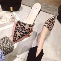 包头拖鞋女2019春季新款时尚尖头绒面半包头拖鞋复古豹纹性感拖鞋
