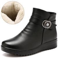 ����鞋冬保暖加�q中老年舒�m女鞋滑�底中年短靴子女士棉鞋