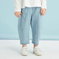 【秒杀价:225元】马拉丁童装女童牛仔长裤春装2020新款儿童个性压线宽松牛仔裤女