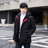 冬季男士羽绒服中长款2018新款韩版潮流修身帅气中学生连帽加厚外套