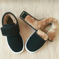 冬季黑色手工保暖棉鞋加绒加厚男女中老年居家牛筋底滑底布棉