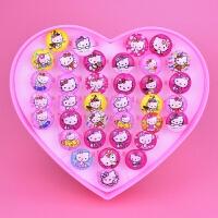 卡通儿童戒指女心形盒装小女孩公主水晶戒子可爱女童宝宝指环配饰