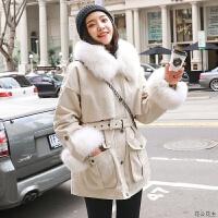 2018冬新款韩版毛领工装女中长款宽松bf棉衣学生加厚棉袄外套 米白色