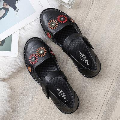 妈妈鞋软底舒适单鞋中老年女鞋奶奶滑平底中年老人皮鞋春秋   冬季时尚新款女鞋 男鞋