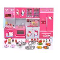 hellokitty凯蒂猫女孩儿童过家家迷你仿真小厨房冰箱做饭玩具套装礼盒女孩生日礼物 kitty厨房(4组柜)
