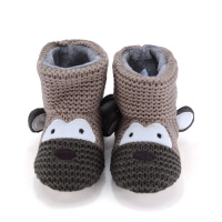 2018秋冬儿童棉拖鞋男童防滑包跟宝宝卡通恐龙室内居家专用地板鞋 棕色 小猴子