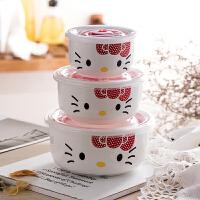 陶瓷保鲜碗三件套带盖便当盒微波炉饭盒冰箱收纳盒大号泡面碗套装