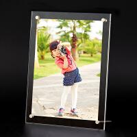 亚克力水晶相框7寸5-10寸a4摆台照片展示架子证书框挂墙透明相架 透明 摆台款3+3mm