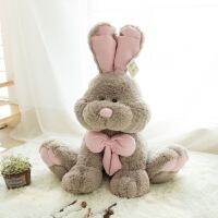 毛绒玩具可爱大兔子长耳朵玩偶大号布娃娃小兔公仔生日礼物女生 浅灰色款 全长50厘米