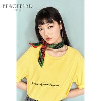 短袖T恤女夏装2019新款黄色后背印花五分袖宽松直筒打底衫太平鸟
