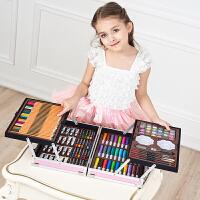 儿童画笔套装美术学习用品画画工具绘画蜡笔女孩水彩笔幼儿园礼物 铝盒粉色【买一送四】
