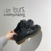 2019冬新款日系学院风大头鞋女系带布洛克鞋学生休闲加棉单鞋女 黑色