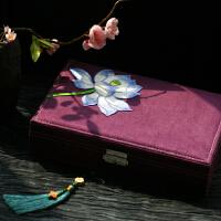 中式闺阁礼物复古绣花大首饰盒带锁化妆盒大容量
