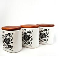 普润 厨房用品陶瓷密封罐三件套 大号储藏罐 零食罐 炒货罐调味罐套装调味瓶子调料罐