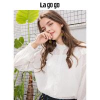 Lagogo/拉谷谷2019秋季新款白色荷叶边雪纺衫女长袖上衣HCCC477G60