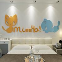 miss猫 3D水晶 亚克力立体墙贴 儿童房 洗手间 沙发 客厅 卧室 背景墙装饰