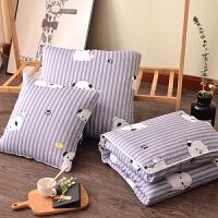 全棉抱枕被子两用纯棉加厚汽车空调被沙发靠枕头办公室折叠午休枕